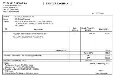 contoh gambar faktur penjualan gawe cv