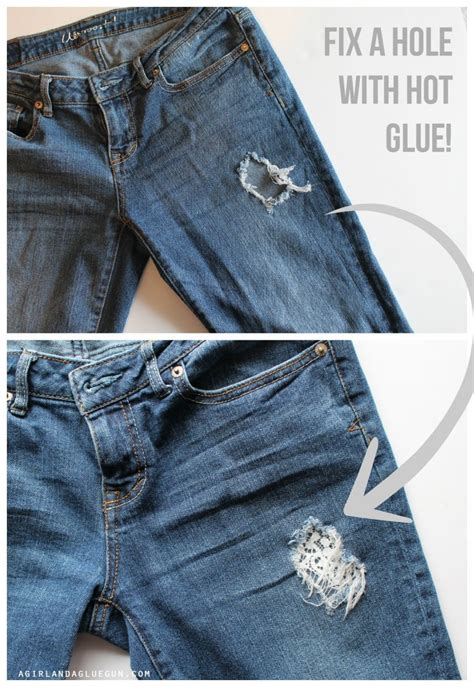 how to cover a hole in pants fix a hole in your pants with hot glue a girl and a