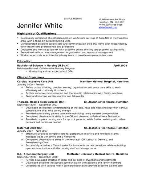 sample resume  nursing students