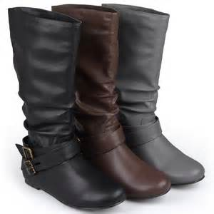 womens boots calf brinley co buckle detail wide calf boots
