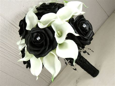 Dramatic Black Rose And White Calla Lily Bridal Bouquet