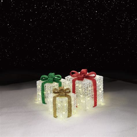 3 light up gift box decorations cheerful