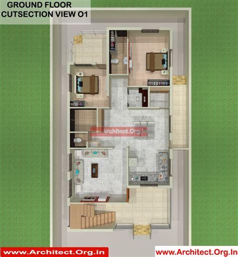 mrmahesh mali sangli maharashtra bungalow ground floor  cut section  architectorgin