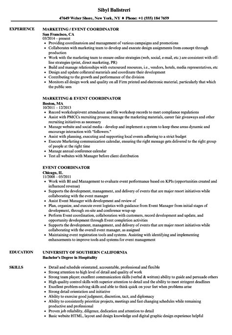 Event Coordinator Resume by Event Coordinator Resume Sles Velvet