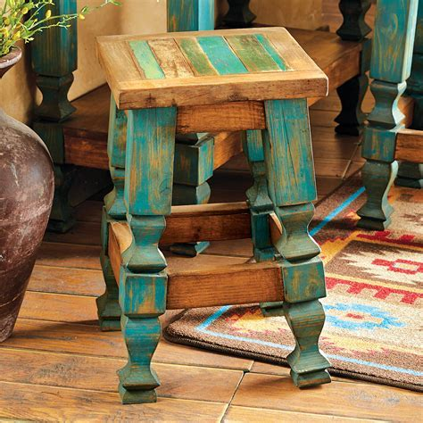 Western Furniture: 24 Inch Old Wood Turquoise Barstool
