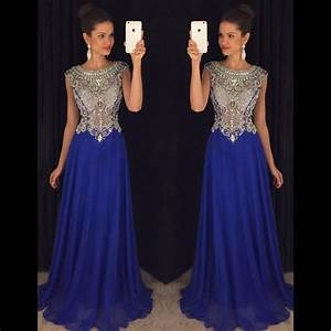 Royal Blue Prom Dresses, Cap Sleeve Illusion Crystal ...
