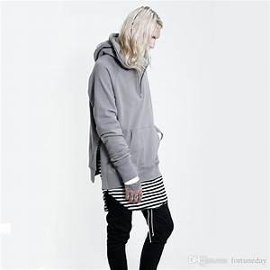 2017 Side Split Brand Mens Oversized Hoodies Drop Shoulder Loose Sweatshirts Street Style Black ...