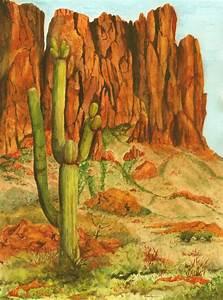 Desert Southwest Landscape Painting, Saguaro Cactus, Print ...