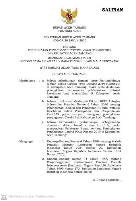 Tekan Jumlah Positif Covid-19, Pemkab Aceh Tamiang Terbitkan Perbup Beri Sanksi Bagi Pelanggar
