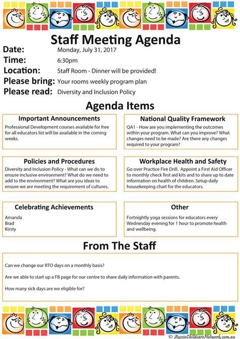 staff meeting aussie childcare network 131   Staff Meeting Agenda SAMPLE