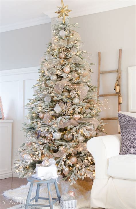 snowy flocked christmas tree neutrals inspired