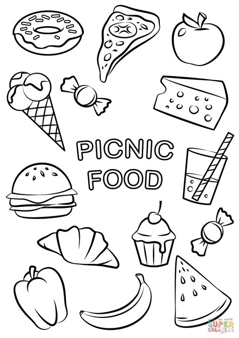 picnic food coloring page  printable coloring pages