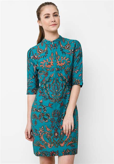 mini dress pleat  batik solo  blue  fascination