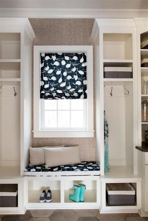built  window seat  mudroom transitional laundry room