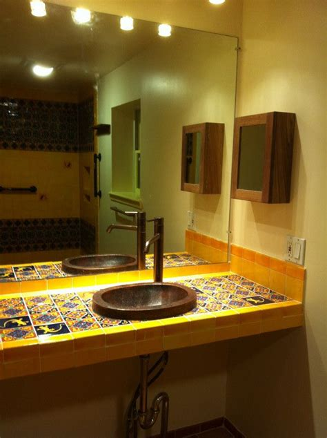 Mexican Bathroom Ideas by Bathroom Copper Sink On A Mexican Tile Vanity Top Mexican