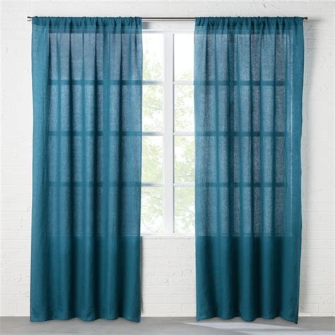 linen teal curtain panel cb2