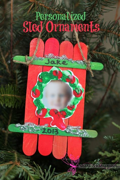 christmas gifts for preschoolers to make their parents sled craft ornament 353