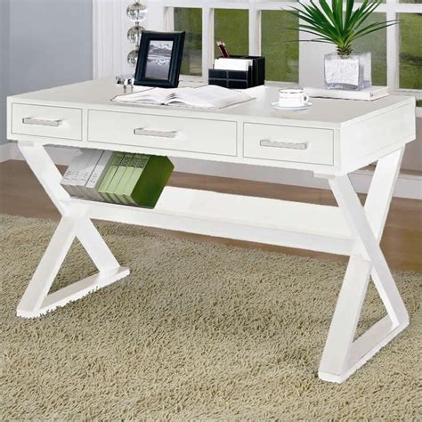 coaster desks desk with three drawers in white 800912