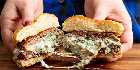cooking spinach artichoke stuffed burgers spinach