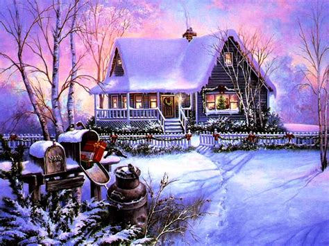 Snowy Cottage Animated Wallpaper - snowy cottage animated screensavers www