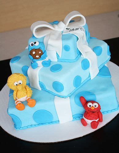 sesame baby shower cake sesame babies on package cake unique