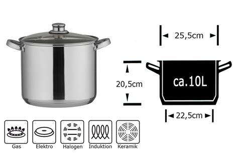 10 liter topf kochtopf alle herdarten 10 liter l suppentopf glasdeckel universaltopf 10l topf ebay
