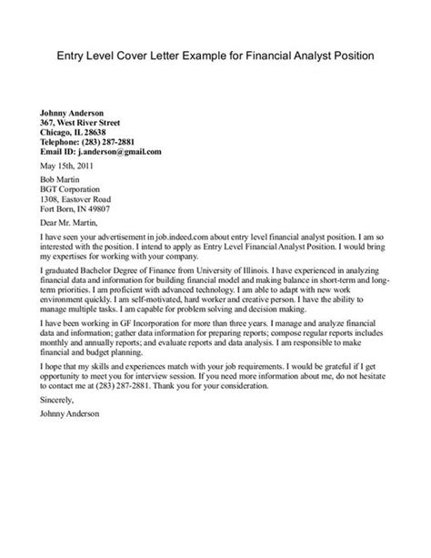 financial analyst cover letter exle http www