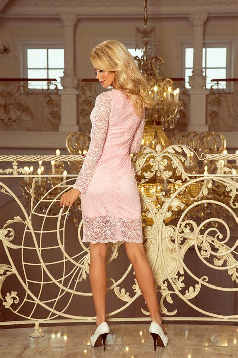 lace dress  neckline pastel pink numoco en