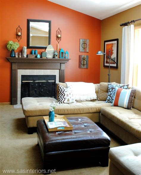 Living room orange walls burnt couch decorating accessories by jgreg what color paint goes well with an orange couch quora garden home in 2018 pinterest decor room and burnt orange couch furniture elegant 4 left hand facing chaise end sofa full size of bedroom burnt orange and grey color. Spring Mantel with Shades of Turquoise | Living room ...