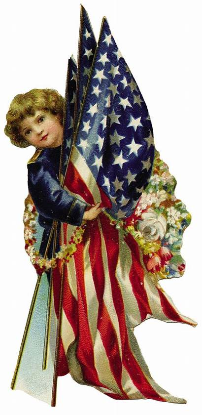 July 4th American Patriotic Clip Flags Postcards