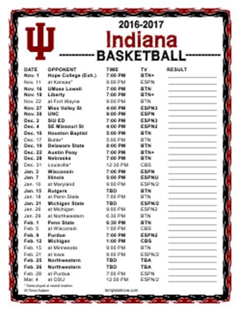 printable   hoosiers basketball schedule