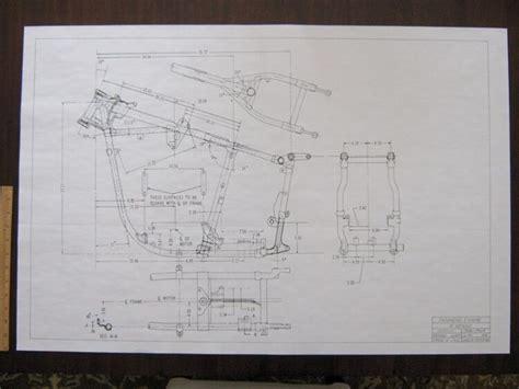 harley davidson pan head   frame blueprint drawing