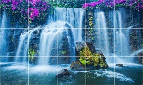 waterfall photo bathroom shower tile mural  tropical