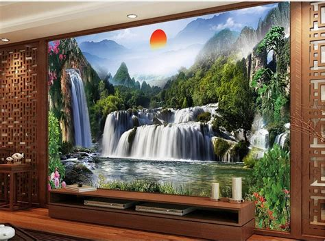landscape waterfall tv backdrop waterfall  room