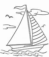 Boat Pages Sail Colouring Ocean Waves Picolour sketch template