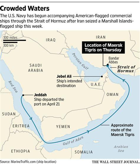 navy starts  accompany ships  strait  iran