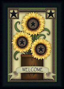 Welcome Sunflowers by Carrie Knoff Primitive Country Sign