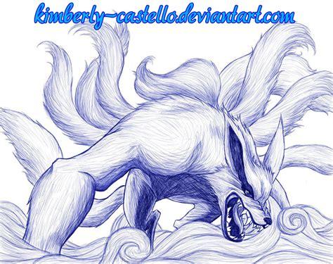 naruto kurama   tailed fox sketch  kimberly