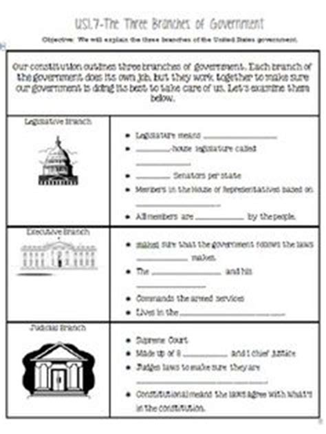 this is a one page sort on the 3 branches of government