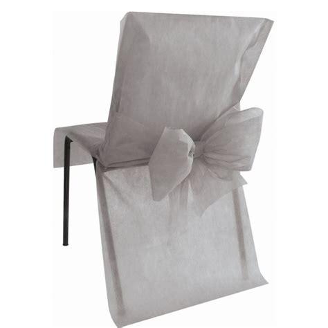 housse de chaise intissé housse de chaise intissé gris avec noeud les 4 housses de