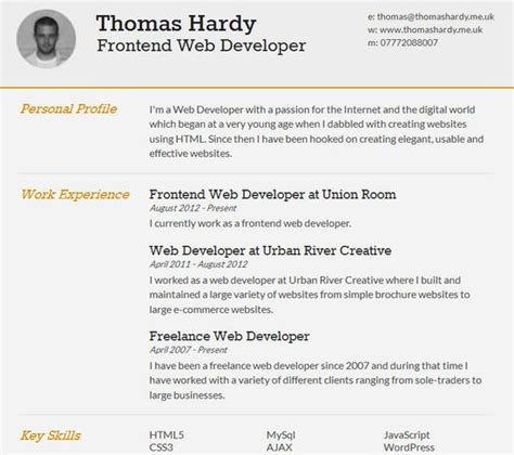 htmlcss resume templates