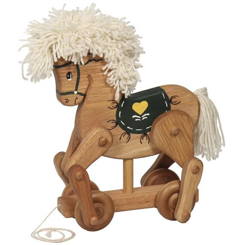 amish wooden horse pull toy