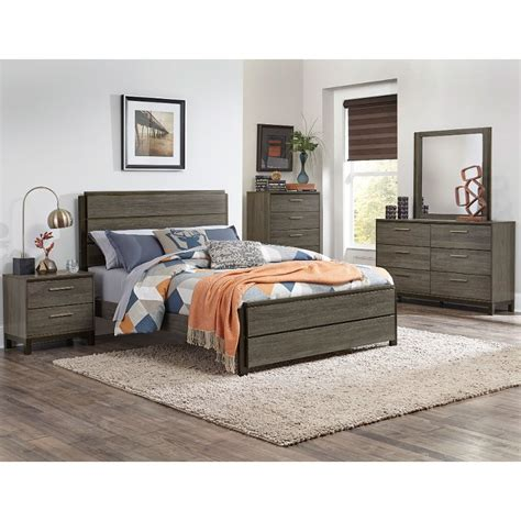 gray black contemporary  piece king bedroom set oxon