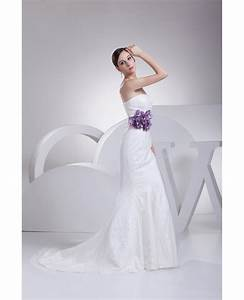 strapless mermaid all lace white wedding dress with purple With all white wedding dress
