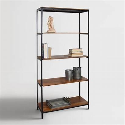 Metal Wood Bookshelf Tall Market Furniture Bookcase