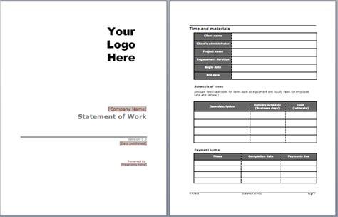 statement  work template microsoft word templates