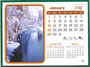 January Calendar Page for 2012