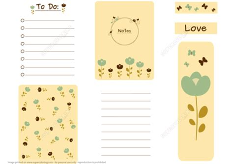 romantic printable scrapbook card notes   list