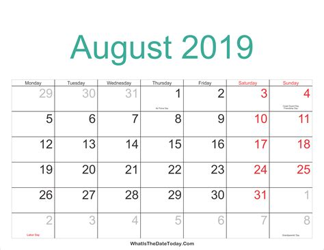 august  calendar printable  holidays