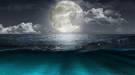 Full Moon Over The Ocean Wallpaper And Background Image